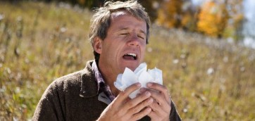 Man Sneezing in Meadow