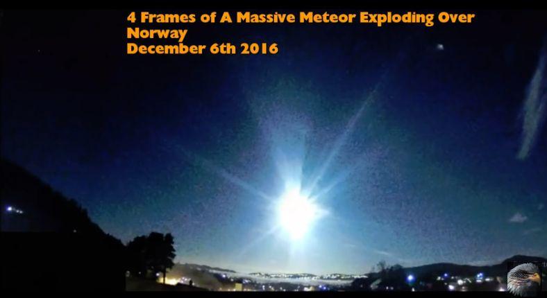 Мощен взрив на метеорит над Норвегия (видео)