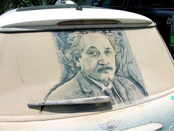 Удивителните прашни рисунки на Скот Уейд върху автомобилни стъкла (снимки)