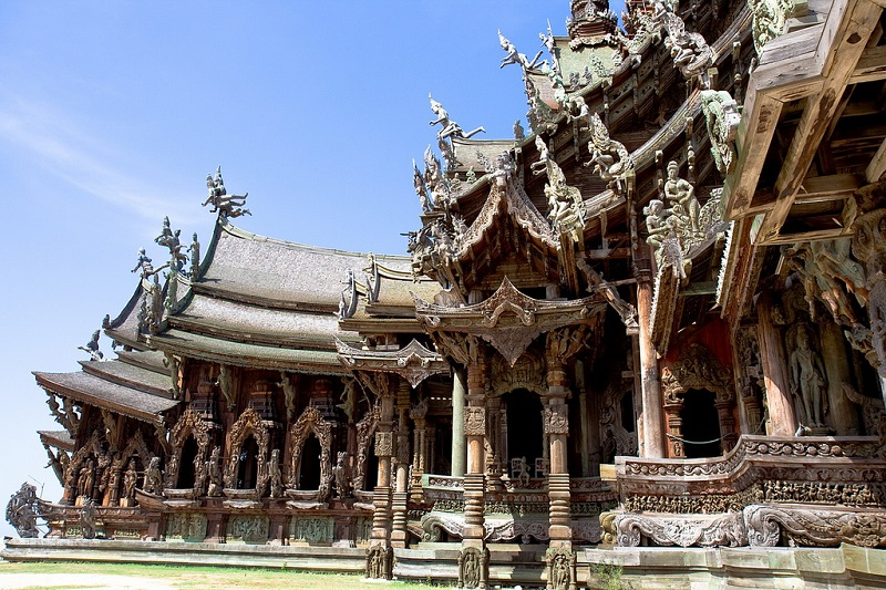 wooden carve  sculptures, sanctuary of truth