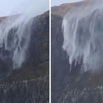 Водопад в Шотландия потече обратно нагоре (видео)